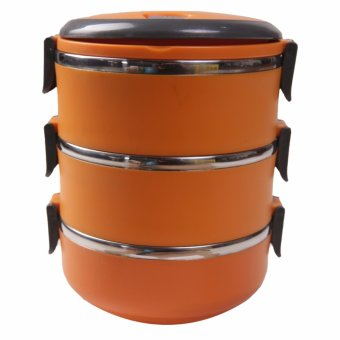 Harga Dinemate Eco Lunch Box Stainless Steel Rantang 3 Susun - Orange