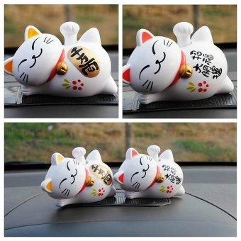 Harga 1Pc Lucky Waving Beckoning Fortune Cat Car Decor Solar Powered 4'' Maneki Neko - intl