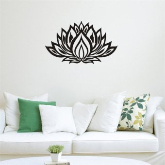 Harga New Lotus Pattern Bedroom Living Room Background Wall Stickers (Black)