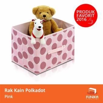 Harga Funika - Rak Kain Tempat Penyimpanan Serbaguna Polkadot Pink 11144 PK - Merah Muda