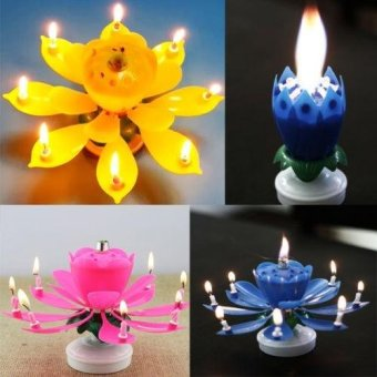 Harga Magical Blossom Lotus Musical Rotating Candle color:Pink - intl