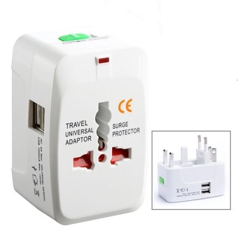 Harga Comfkey 2 USB Charging Port (1A) Universal Travel Adapter AC Power All in One Universal Plug Adapter Power Plug Adapter Wall Adapter Adaptor Charger Multi-Socket Outlet, White