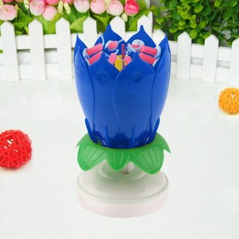 Harga Magical Blossom Lotus Musical Rotating Candle color:Blue - intl