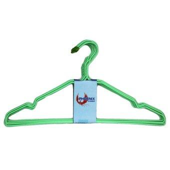 Phoenix /Gantungan Baju Kawat Coating Plastik hijau - 10 Pcs