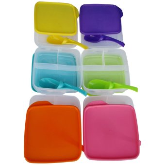 Harga Clio - Kotak Makan Plastik Lunch Box Kyoto Set 6Pieces + Sendok Fullcolour