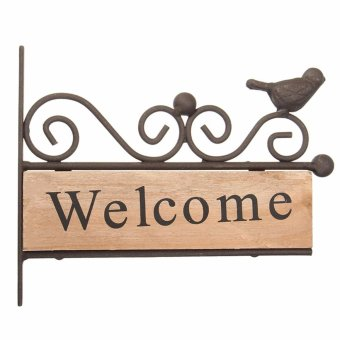 Harga Vintage Wood Wooden Iron Welcome Plaque Wall Sign Bird Shop Bar Cafe Home Decor - intl