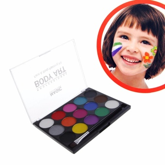 Face Body Paint Kit 15 Colors Water Based Painting with Brush Makeup Fancy Dress - intl