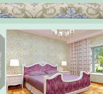Wall Decor - Wallpaper Sticker Motif Vintage Flower Blue on Cream