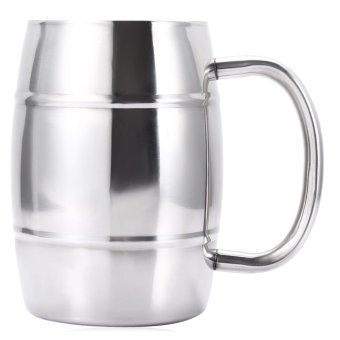 Harga Double-layer Stainless Steel Beer Mug Durable Drinking Cup - intl