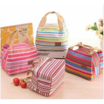 Harga Lunch Bag Cooler Bag Motif Salur Bonus 2 Pcs Jelly Ice Cooler