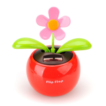 Harga Flip Flap Solar Powered Flower Flowerpot Swing Car Dancing Toy (Red)