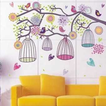 Harga Colorful Birdcage Wall Stickers Home Art Decor