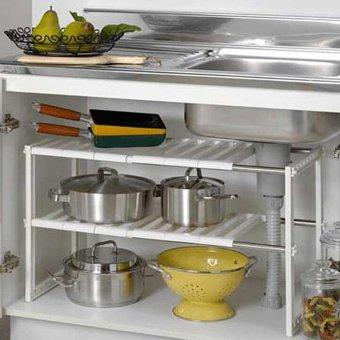 Harga Kitchen Cabinet Shelf Storage Space Saver Bathroom Adjustable Organizer Rack HOT - intl