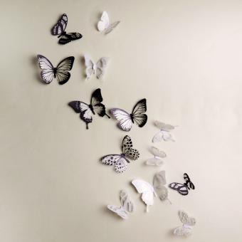 18 buah kreatif kupu kupu 3D wall stiker PVC dekorasi yang dapat dilepas .