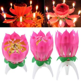 Harga 3pcs Magic Musical Lotus Flower Flame Candles Happy Birthday Cake Party Lamp Surprise Gift Lights Rotation Decoration Open Lotus - intl