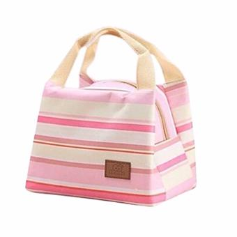 Harga BEST STRIP-Lunch bag Cooler Bag Tas Bekal bonus jelly ice cooler - PINK