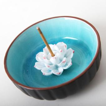 Harga Ceramic lotus split glaze pattern Incense Holders(sky blue) - intl