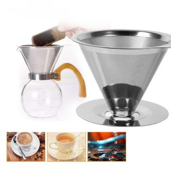 Harga Stainless steel coffee filters / reusable V-type filter cup filter cone filter drip coffee maker tool sets For Home & Ofiice - intl