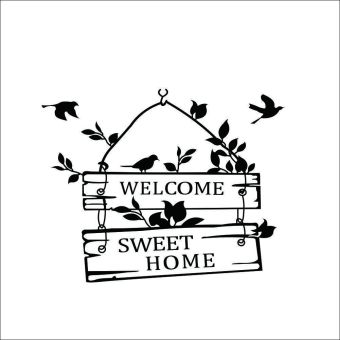 Harga Welcome To Sweet Home Letters With Birds Wall Stickers Decal Mural Wallsticker Home Room Decorations Black