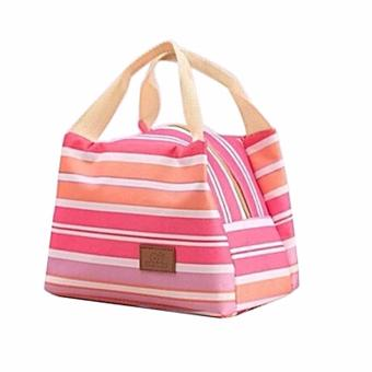 Harga BEST STRIP-Lunch bag Cooler Bag Tas Bekal bonus jelly ice cooler - HOT PINK