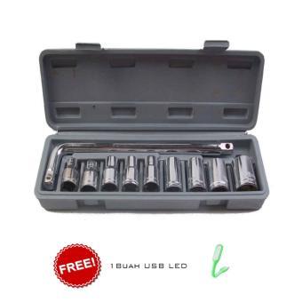 Harga Ronaco Kunci Socket Wrench Pas Kunci Sok 10 PC Kunci Shock Kunci Sock Set 10 pc - Abu-Abu