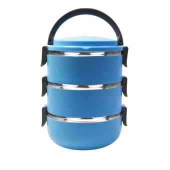 Harga ANGEL Lunch Box Stainless Steel - Rantang 3 Susun - Blue