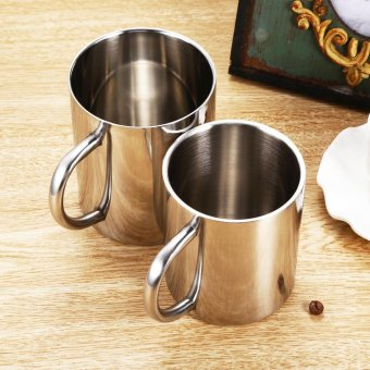 300ML Double-layer Stainless Steel Coffee Cup Portable Eco-friendly Non-toxic Tea Drinking Mug for Home Restaurant Cafe - intl