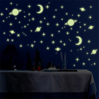 Harga CatWalk Cartoon Starry Star Glow In The Dark Luminous Wall Sticker (Green)