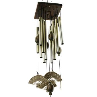 Harga 60 cm kipas angin berbentuk dengan 12 tabung Perunggu paduan lonceng angin genta angin dari