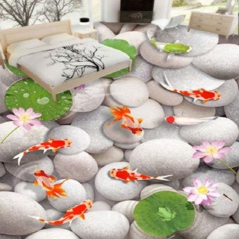 Harga 3D Golden Fish Stone Lotus Floor Mural Photo Flooring Wallpaper Waterproof Decal - intl