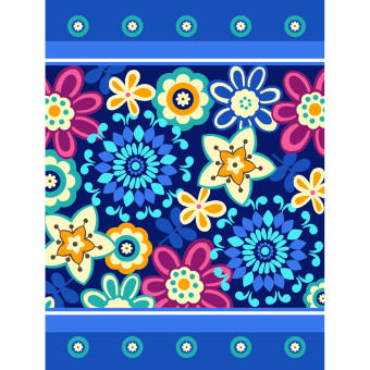 Vito - Selimut Vito Sutra Panel Blue Flower (150*200)