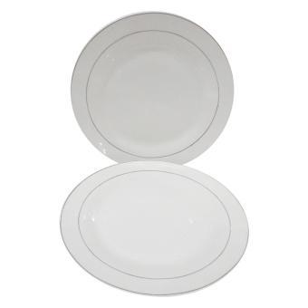 Mitra Loka - Piring Makan Ceper Polos Dinner Plates Set 2Pieces - Putih