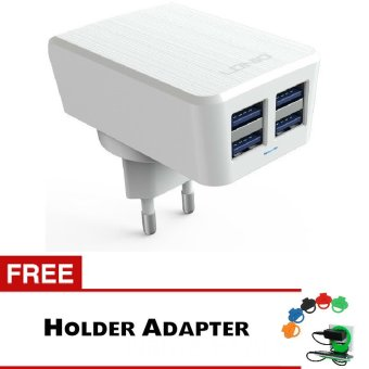 Harga LDNIO Universal Charger Adapter DL-AC62 4 Port 4.2A - Putih + Gratis Trend's Holder Charger Adaptor
