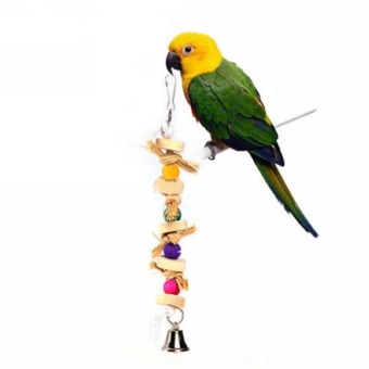 Harga Cocotina 11.7'' Pet Bird Parrot Chew Toy Wooden Straw With Bell Cage Swing Tool