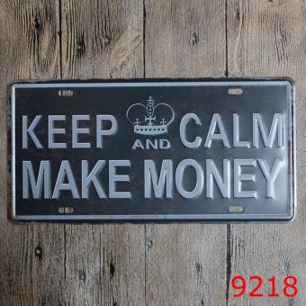 Vintage Metal Plate Tin Signs KEEP CALM MAKE MONEY Shabby Chic Wall Decorations 30X15cm