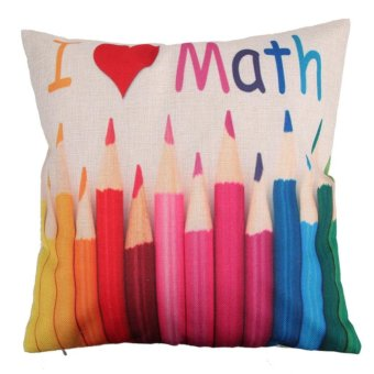 Kreatif pensil pola kapas bantal Cover(Red) - intl