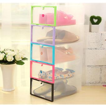 Harga 2 buah kotak sepatu terbuat dari plastik wadah penyimpanan wadah rumah kantor agenda Biru -