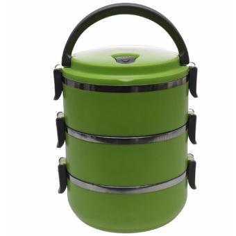 Harga QuincyHome Lunch Box Stainless Steel - Rantang 3 Susun - Green