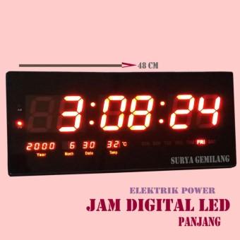 Jam Dinding 4800 Digital Ukuran Panjang 48cm LED MERAH Jam Tembok Led  Dengan Ukuran Jumbo 41229c7fb8