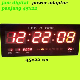 Fitur Jam Dinding Digital 35x15 Cm Led Biru Kwalitas 1 Adaptor Power ... 0f2fa4c7f0