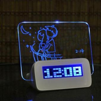 Hot Deals Jam Weker Meja LCD Display dilengkapi Alarm dan Memo Board terbaik murah - Hanya