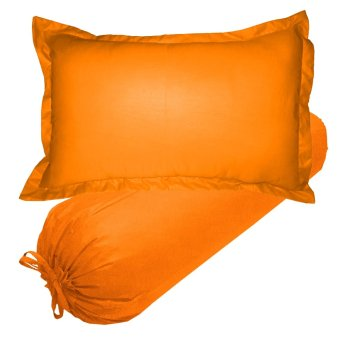 Jaxine Set Sarung Bantal Guling Polos Orange