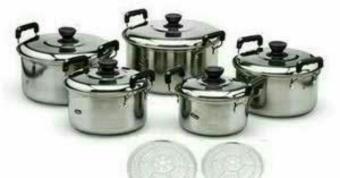 Kingko Panci Set Stainless Cookware 5pcs Panci Dan 5Pcs Tutup Stainless + 2Pcs Sarangan(Steamer