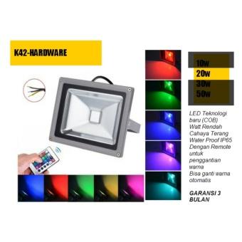 Lampu Led Sorot 20 watt rgb remote Tembak / Panggung / Outdoor /Taman / Lapangan