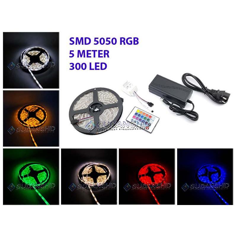 lampu led strip 5050 rgb ip45 12v 5m + remote module 220v adaptor