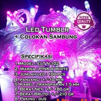 Lampu LED TumblrLampu Hias Natal LED Pink+White 10 Meter + Colokan Sambungan ( Warna