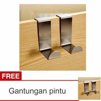 Lanjarjaya Gantungan door Hanger Pintu Tanpa Paku Set Stainless Steel barang Baju + Buy 1 Get