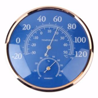 Besar Round Thermometer Hygrometer Suhu Kelembaban Monitor Meter Gauge Biru-Intl