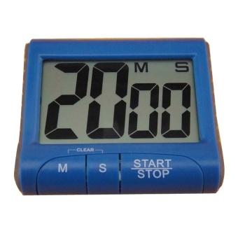 LCD Digital Timer Dapur Memasak Hitung-turun Naik Jam Alarm Keras 4 Warna Biru-