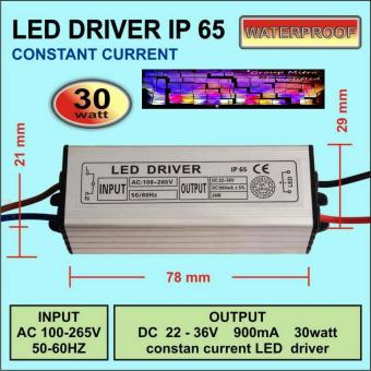 LED Driver AS 30 Watt 900 Ma AC-DC Casing Besi WATERPROOF